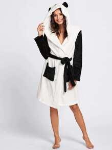 Self Belted Panda Pattern Robe