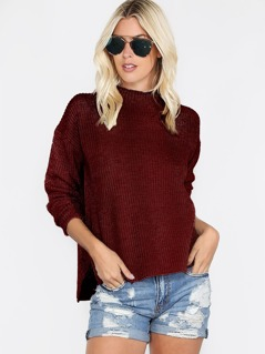 Dropped Shoulder Stepped Hem Jumper