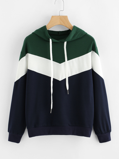 Cut And Sew Color Block Hoodie