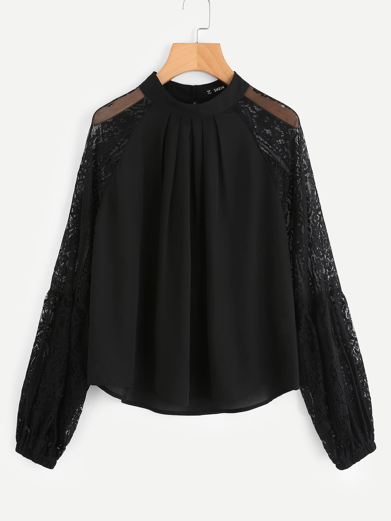 Lace Sleeve Boxed Pleated Top boxed pleated bishop sleeve tunic top