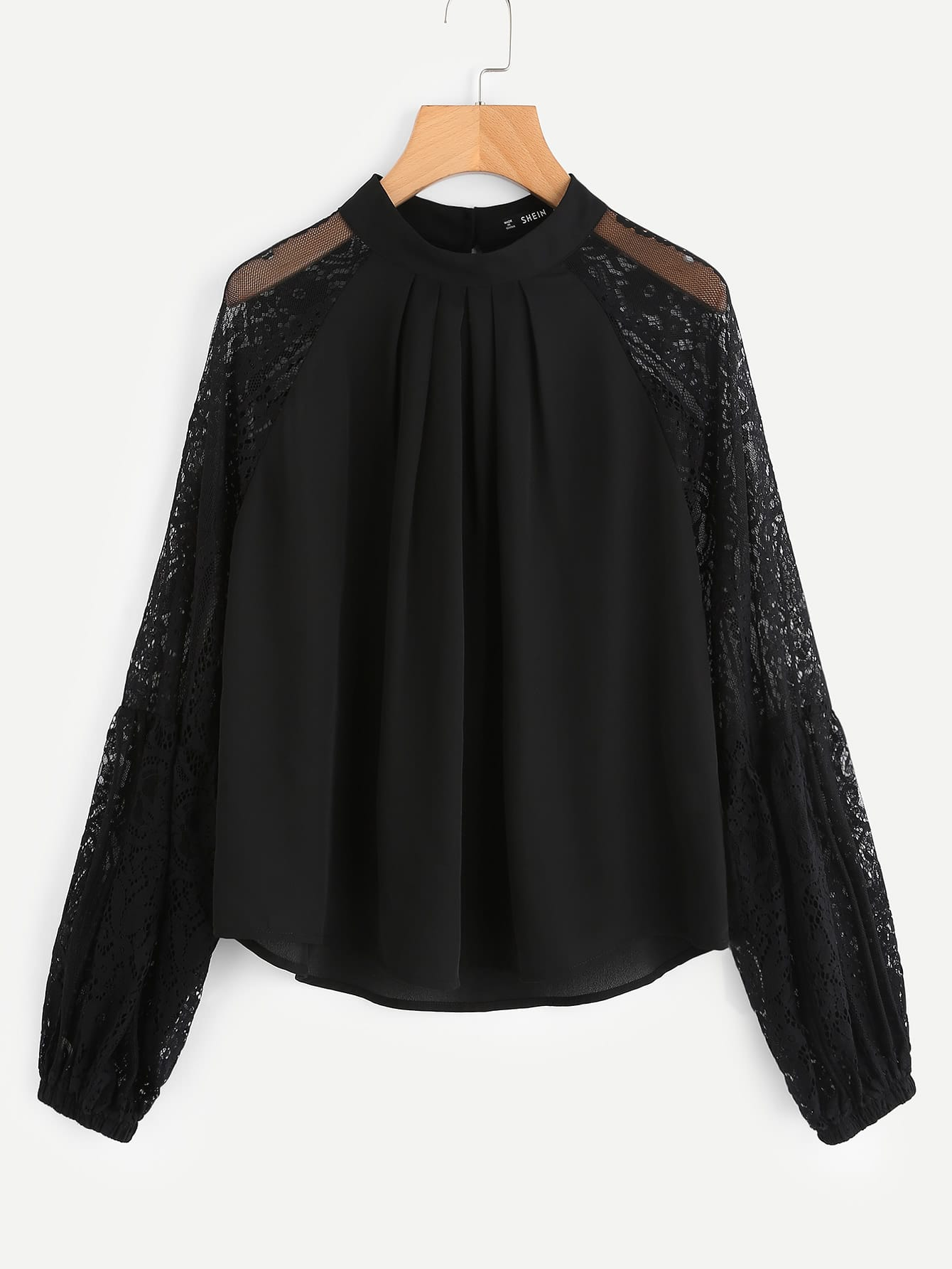 Lace Sleeve Boxed Pleated Top