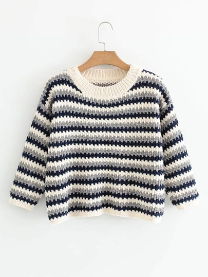 Striped Drop Shoulder Chenille Sweater