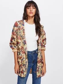 Flap Pocket Front Zip Up Floral Hoodie Jacket