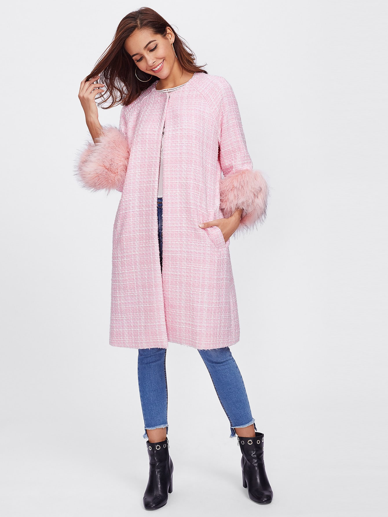 Contrast Faux Fur Trim Raglan Sleeve Tweed Coat outer171101702