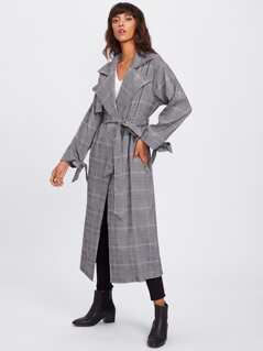 Bow Tie Cuff Flap Front Plaid Wrap Coat
