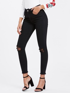 Lace Insert Knee Raw Cut Hem Jeans