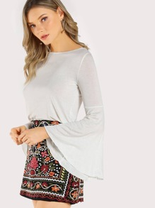 Solid Trumpet Sleeve Top IVORY