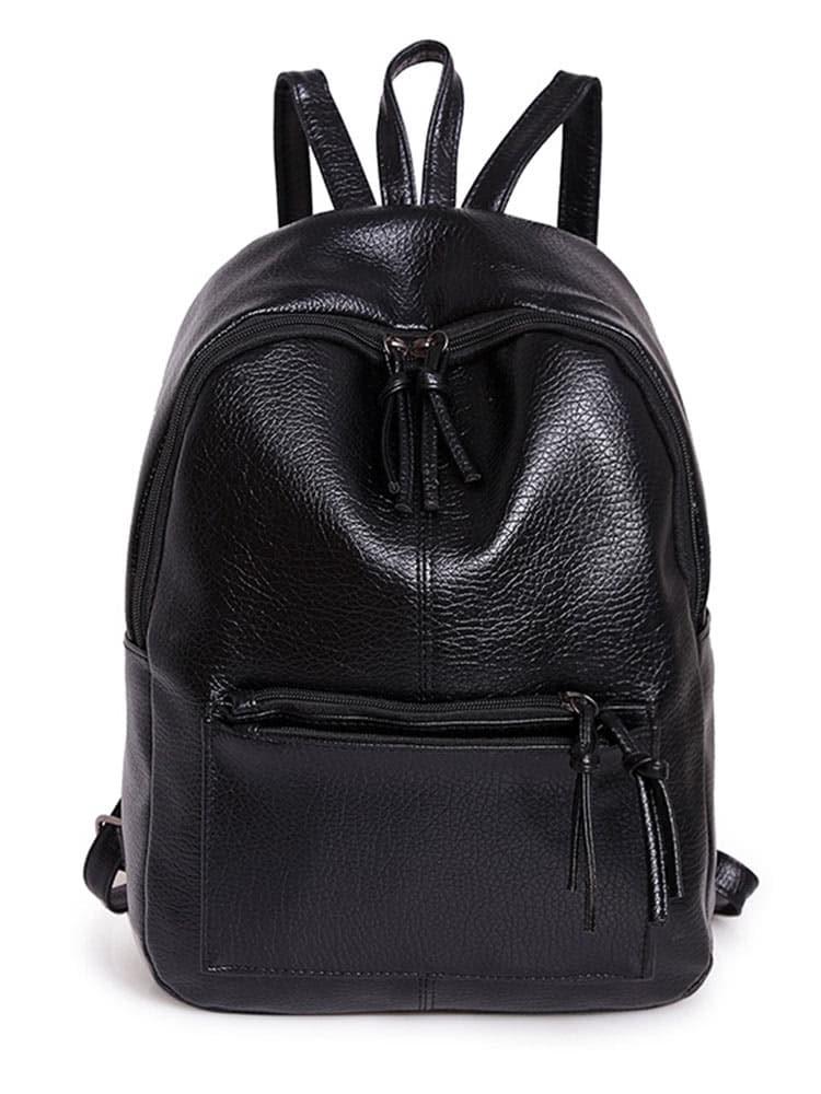 Zipper Front Backpack With Tassels -SheIn(Sheinside)
