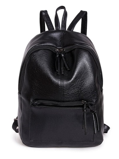 Zipper Front Backpack With Tassels