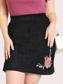 Faux Suede Floral Embroidered Skirt BLACK