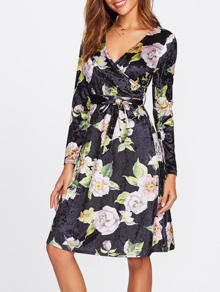 Flower Print Velvet Surplice Wrap Dress