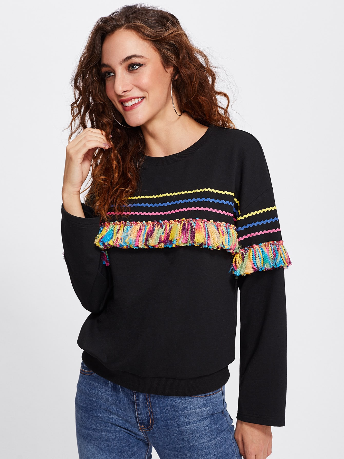 Colorful Tassel And Chevron Patched Pullover lisa corti короткое платье