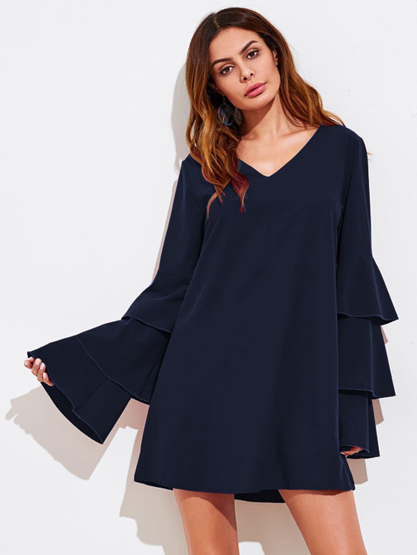 V-neckline Tiered Flute Sleeve Dress