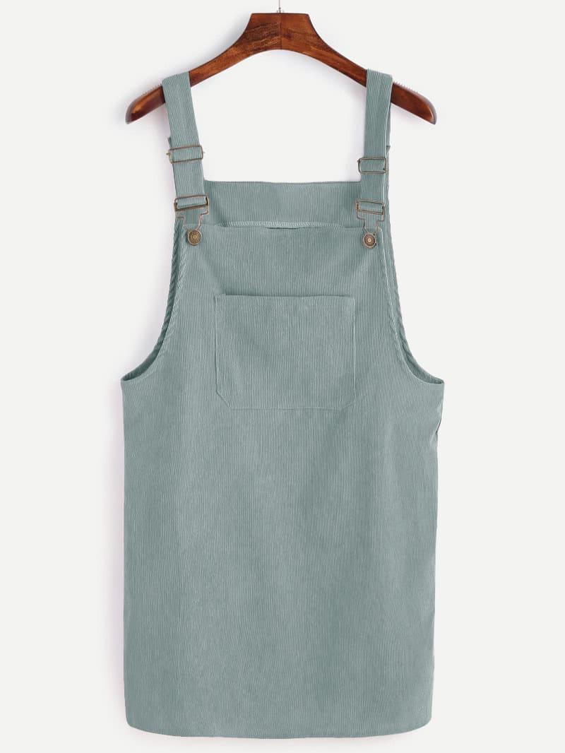Купить Стиль кэжуал Одноцветный с карманами Зелёные Платья, null, SheIn