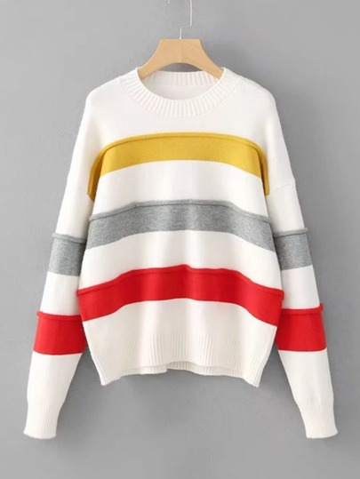 Block Striped Ribbed Trim Sweater