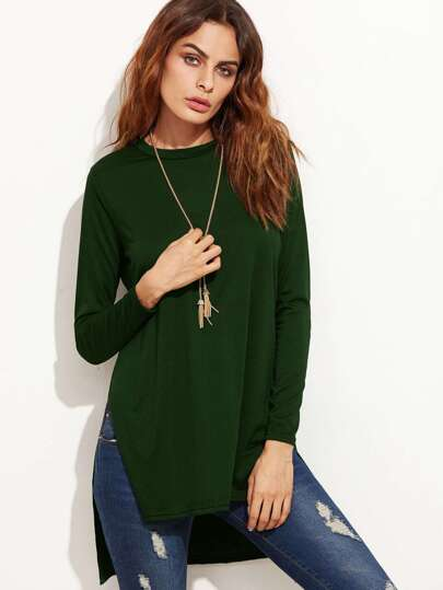 Slit Side Dip Hem T-shirt