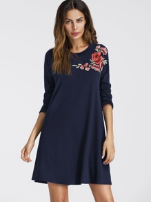 Embroidered Applique Drop Shoulder Tee Dress