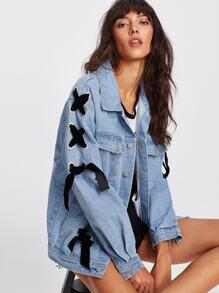 Veste en jeans avec détail de lacet
