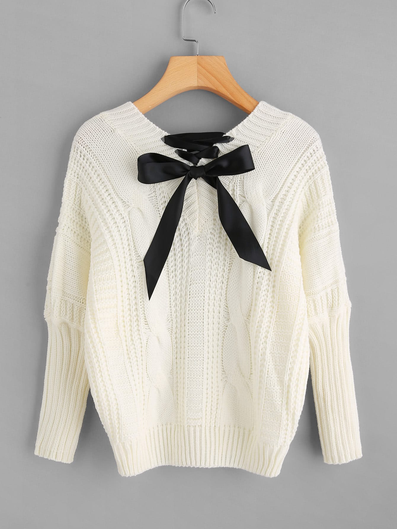 Lace Up Back Cable Knit Sweater colorblock cable knit sweater
