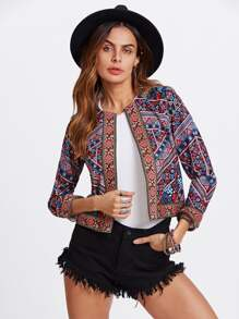 Embroidered Tape Trim Tribal Print Jacket