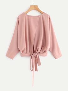 Overlap Tie Back Sweatshirt