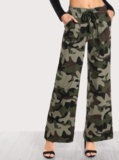 Army Print Flare Leg Pants ARMY