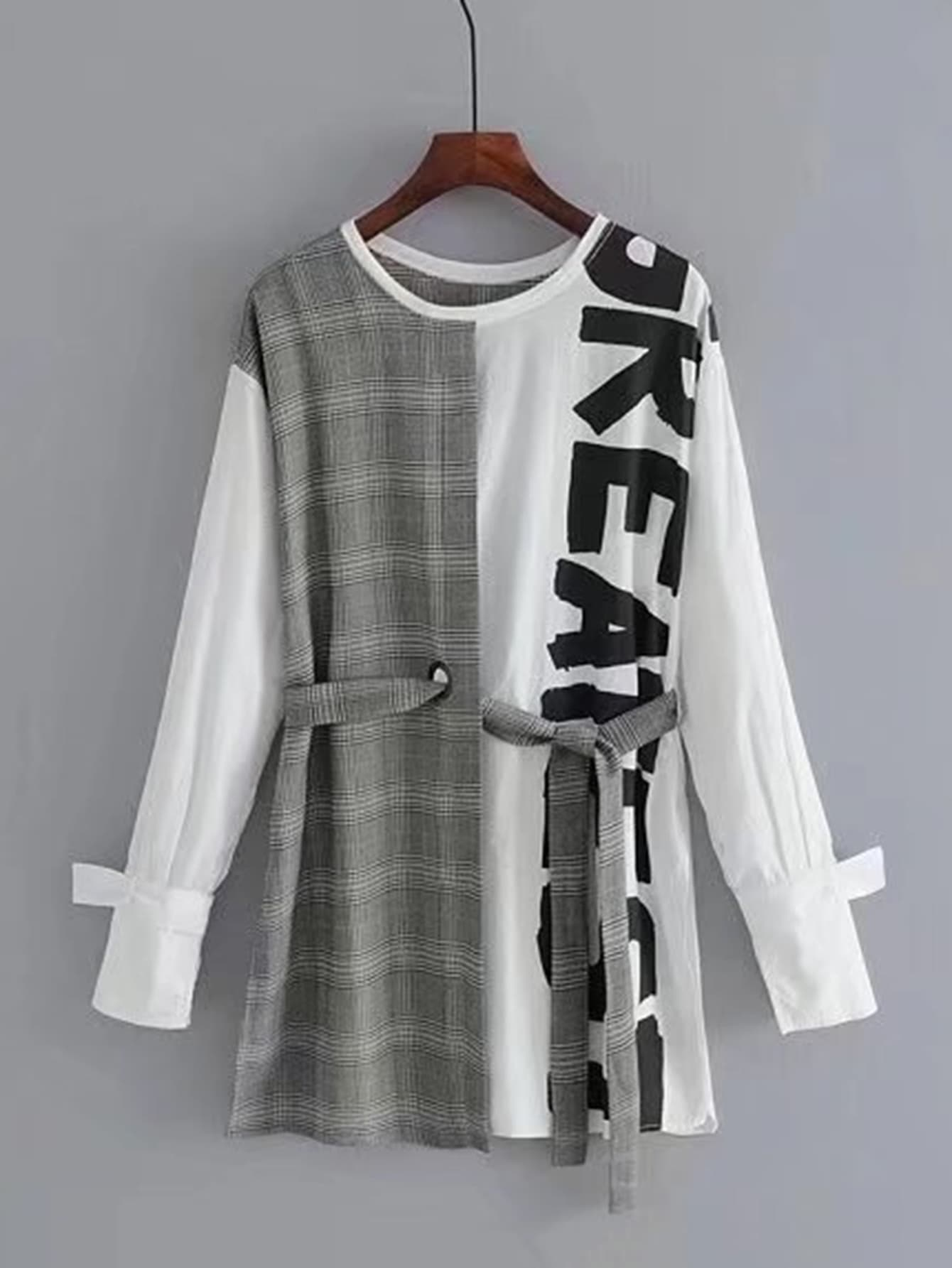Image of 2 In 1 Self Tie Glen Plaid Dress