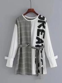 2 In 1 Self Tie Glen Plaid Dress