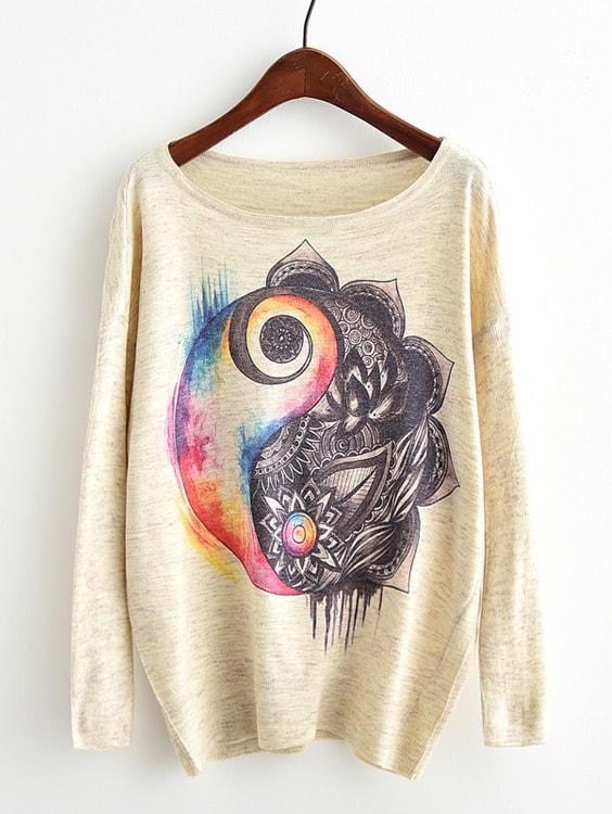 Drop Shoulder Graphic Print Sweater two tone drop shoulder sweatshirt