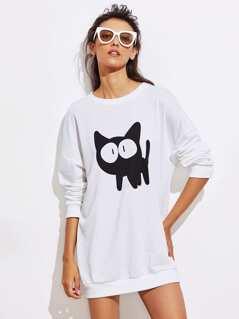 Cat Print Drop Shoulder Longline Sweatshirt