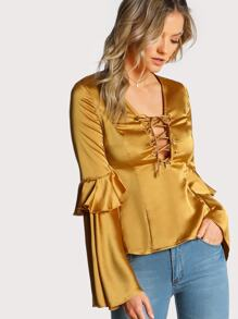 Frilled Fluted Sleeve Lace Up Top