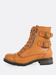 Lace Up Buckled Combat Boots TAN