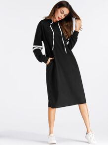 Varsity-Striped Sweatshirt Dress
