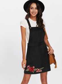 Rose Embroidery Patch Overall Dress