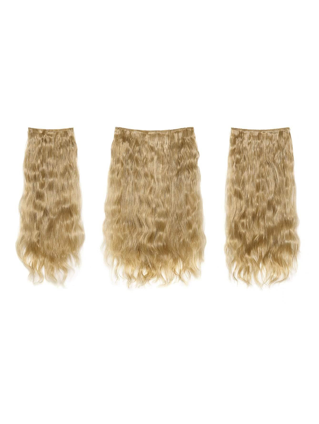 Купить Светло-золотистые синтетические волосы с заколкой 3 шт., null, SheIn
