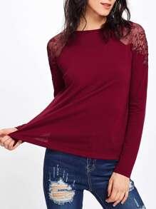 Embroidered Mesh Shoulder Split Hem Tee