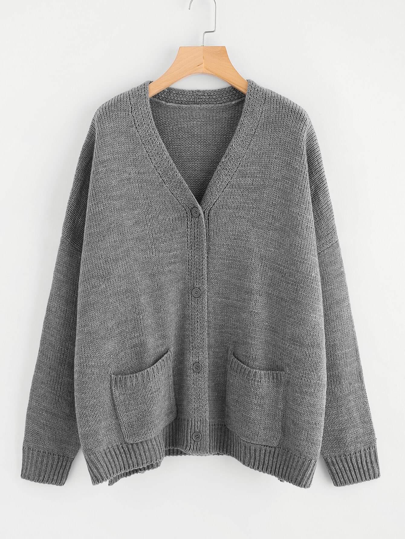 Dropped Shoulder Slit Side Pocket Cardigan sweater171013450