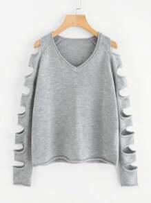 Laddering Cutout Raglan Sleeve Sweater