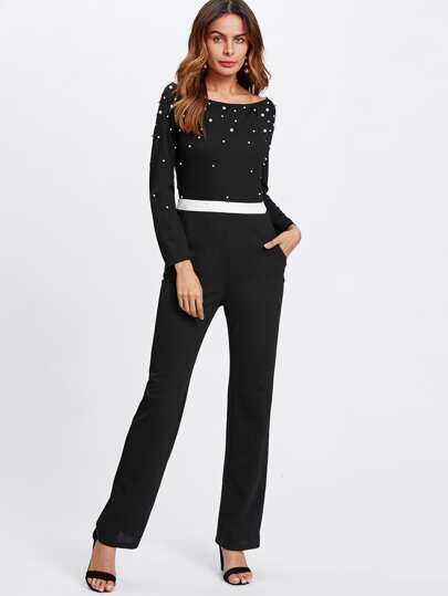 Pearl Beading Contrast Waist Tailored Jumpsuit