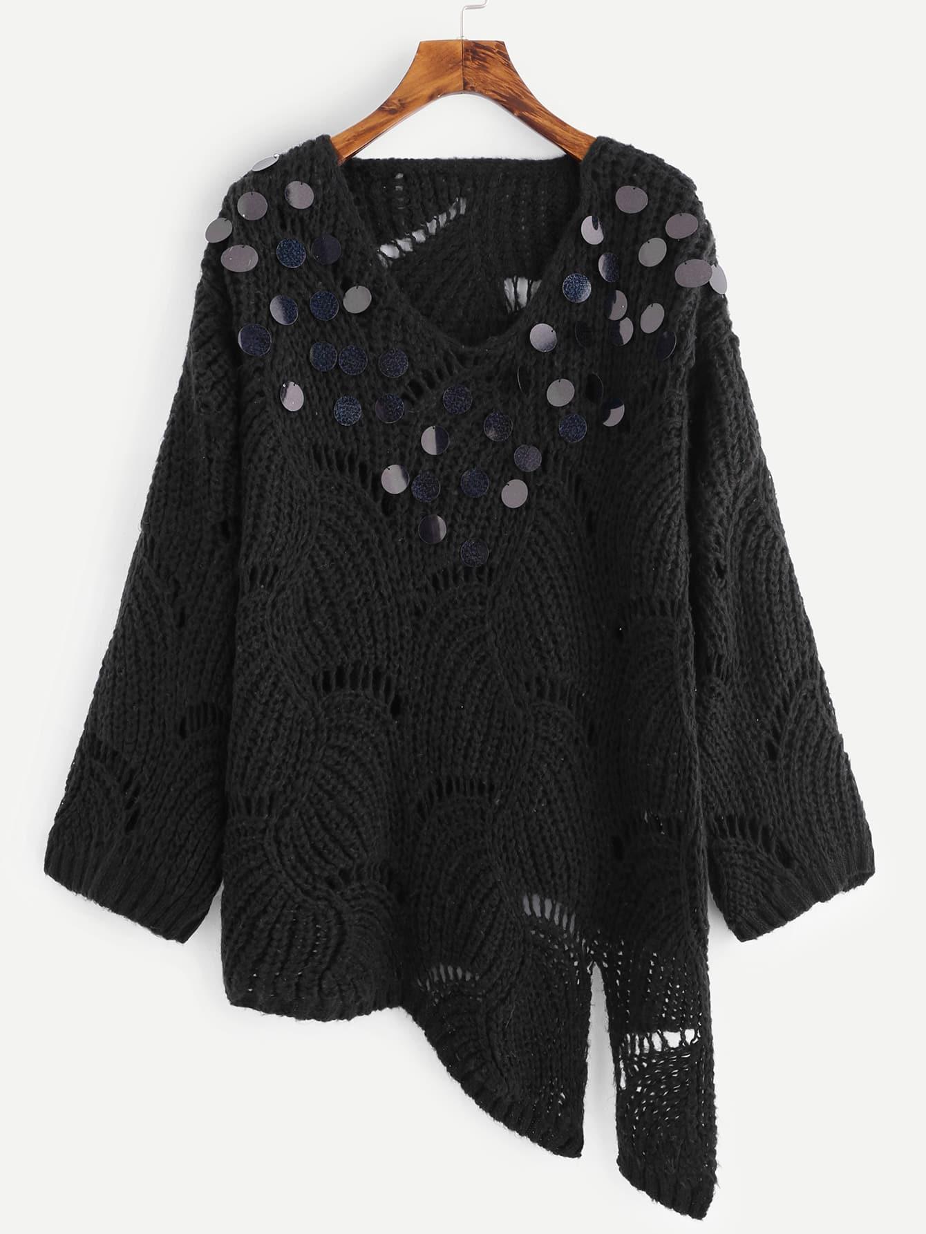 Sequin Loose Knit Asymmetrical Jumper coffee knit v neck asymmetrical hem jumper