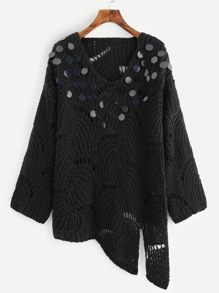 Sequin Loose Knit Asymmetrical Jumper