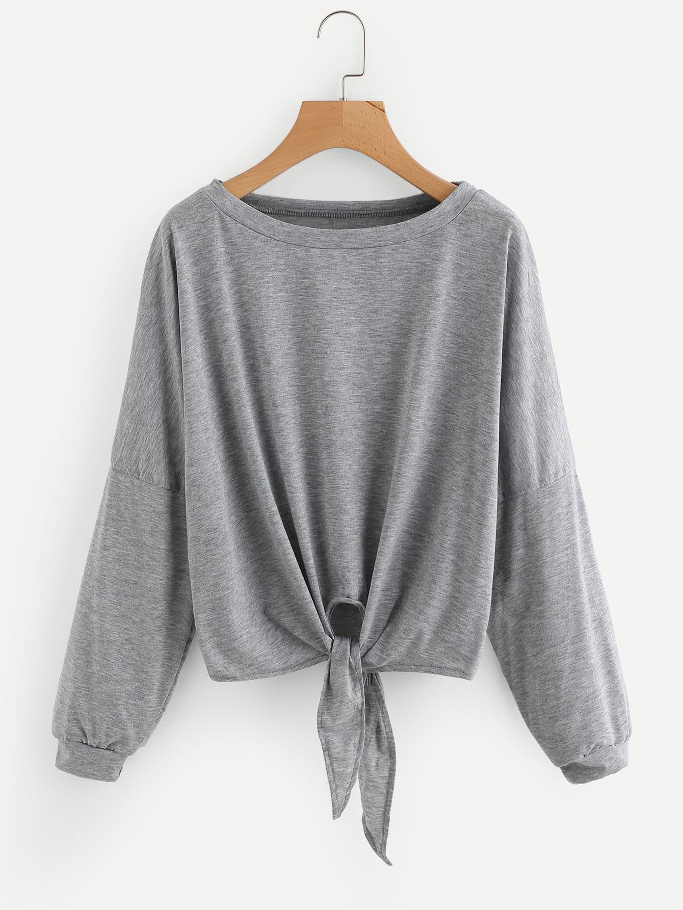 Drop Shoulder Tie Front Tee bow tie front drop shoulder sweatshirt