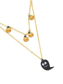 Cartoon Ghost & Pumpkin Pendant Chain Necklace