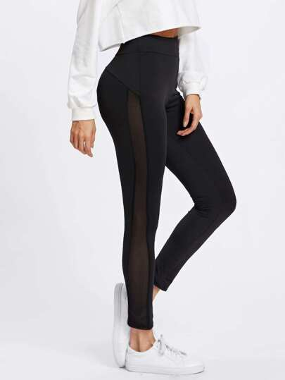 Sheer Panel Side Leggings