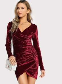 Ruched Overlap Surplice Crushed Velvet Dress