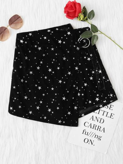 O-Ring Belted Detail Glitter Star Skort
