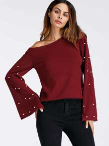 Bell Sleeve Pearl Beaded Sweater
