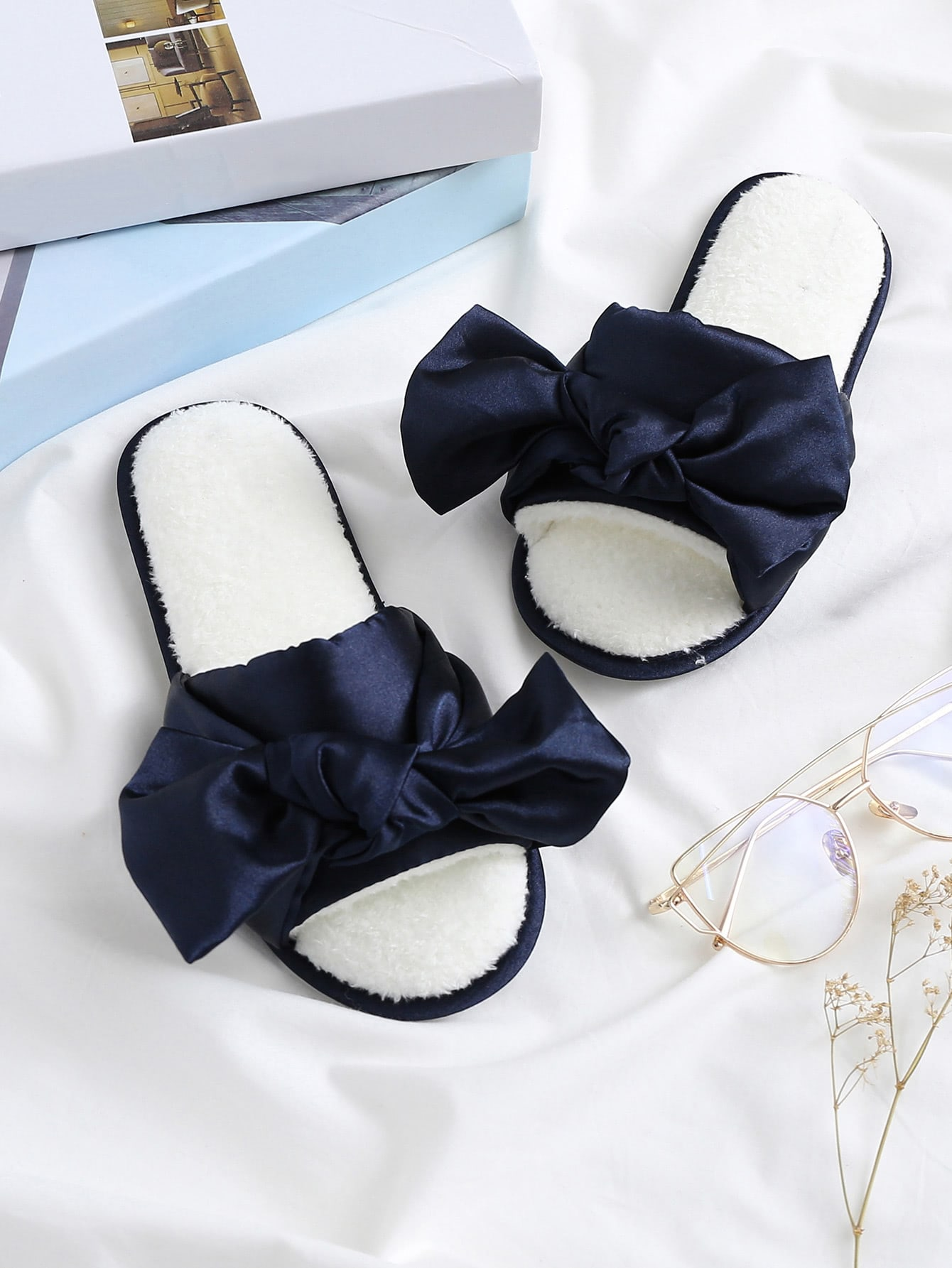 Satin Bow Tie Faux Fur Lined Slippers