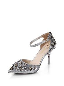 حذاء العالية الكعب  صنادل  لون اسود مع الفضة