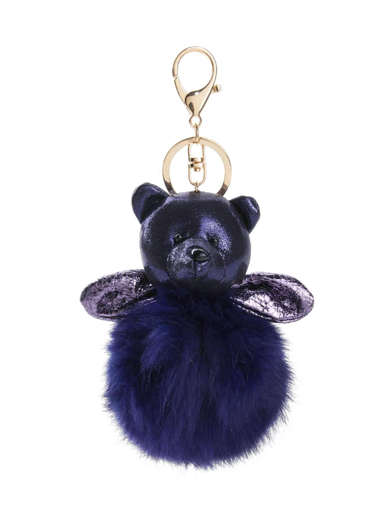 Image of Bear Design Keychain With Pom Pom